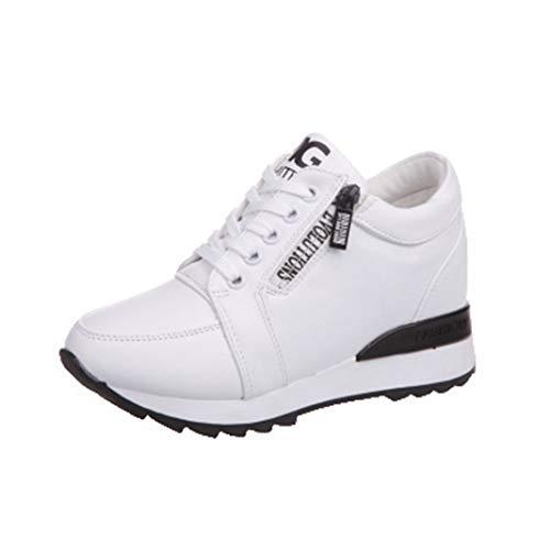 Scarpe da Donna con Zeppa Sneakers Impermeabili con Cerniera Laterale Bassa e Casual