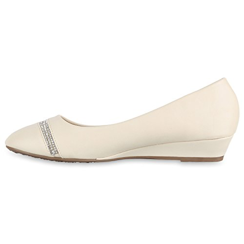 Damen Pumps Lack | Velours Leder-Optik | Strass Keilpumps | Wedges Schuhe Metallic| Party Hochzeit Abiball | Brautschuhe Übergrößen Creme Steinchen