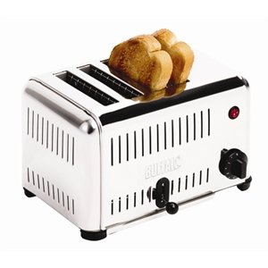 Buffalo 4 Slice Toaster 225X370X210mm Stainless Steel Catering Kitchen
