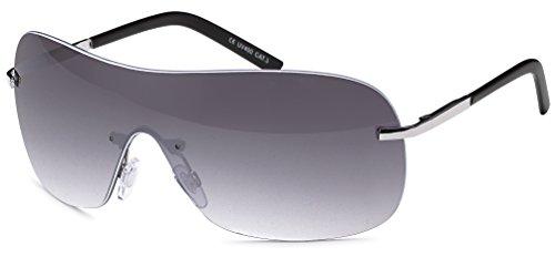 rahmenlose Sonnenbrille mit Monoscheibe + Brillenbeutel - Sonnenbrille mit durchgehender Scheibe (smoke-Gradient)