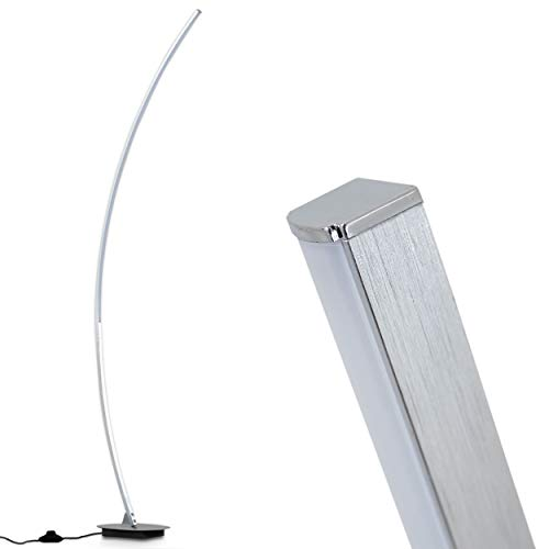 LED Stehleuchte Nagu – Moderne Stehlampe aus Alu gebürstet im außergewöhnlichen Design – gebogene Standlampe – 11 Watt – fest verbaute LEDs – Mit Fußschalter am Kabel – helles Licht - Wohnzimmerlampe