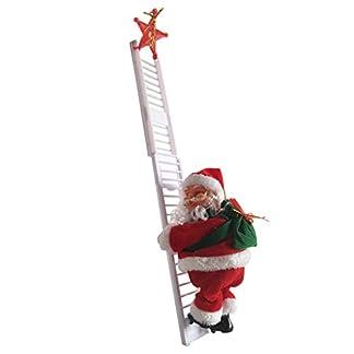 Vovotrade 2 Unids Santa Claus + Escala Automática Eléctrica con Música Colgante Estatuilla Ornamento Fiesta Árbol De Decoración Navidad De Dibujos Animados para Regalo De Juguete para Niños