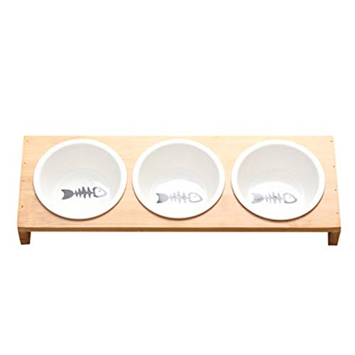 TOOGOO Mode Katze Hund Feeder Schüsseln Bambus Geschirr Keramik Tier Nahrung Wasser Schüssel Hoch Gradige Rutschfeste Heimtier Bedarf Hund Katze Schüssel L -