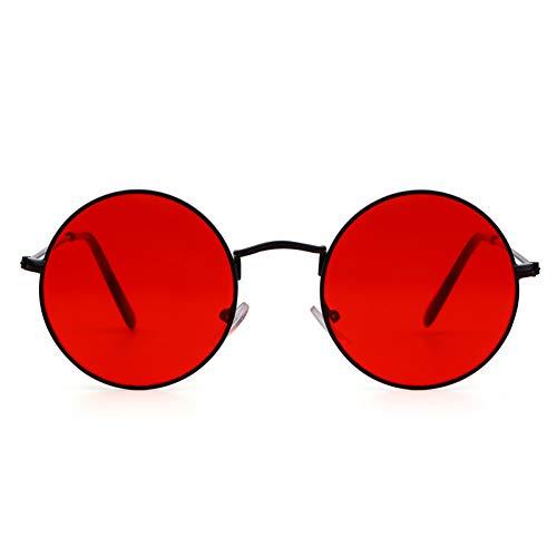 FEYGB Sonnenbrillen Summer Retro Round Sonnenbrille Men Women Vintage Circle Schwarz Rot Pink Lens Hippie Sun Glasses Shades, Red