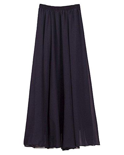 Femmes Élégant A-ligne Plissé Longue Jupe Taille Elastique Maxi Jupe Blanc Navy
