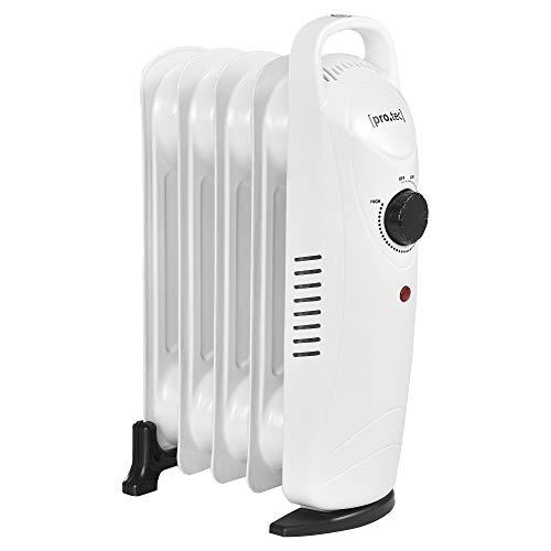 [pro.tec] Mobile Elektroheizung 500W Öl Radiator Heizkörper 5 Heizrippen Überhitzungsschutz Allergikerfreundlich Heizung Heizgerät