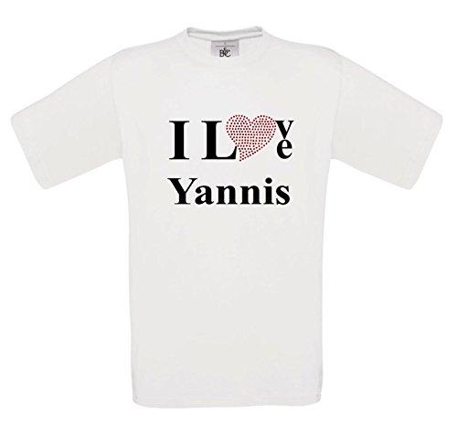 T-Shirt I Love Yannis mit einer Strassaplikation / Strassherz Schwarz