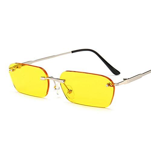 WSXCDEFGH Retangle Sunglasses Women Black Rimless Mirror Sun Glasses Clear Lens for Men Female Colored Glasses