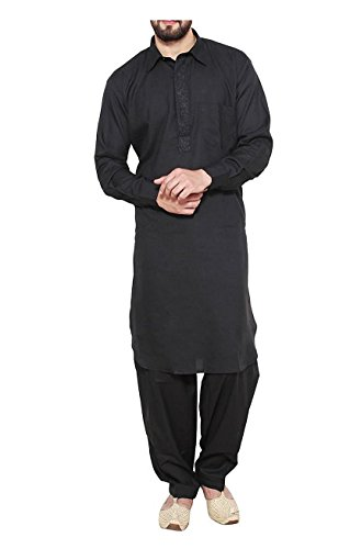 Royal-Mens-Traditional-Neck-Thread-Embroidered-Blended-Pathani-Suit-With-Classic-Collar