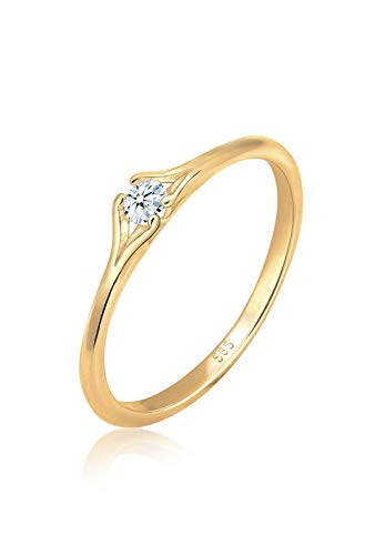 Diamore Ring Damen Verlobung Vintage mit Diamant (0.06 ct.) in 585 Gelbgold