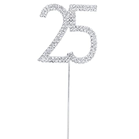 Chytaii Cake Topper for 25th Anniversary Birthday Party Rhinestone Crystal