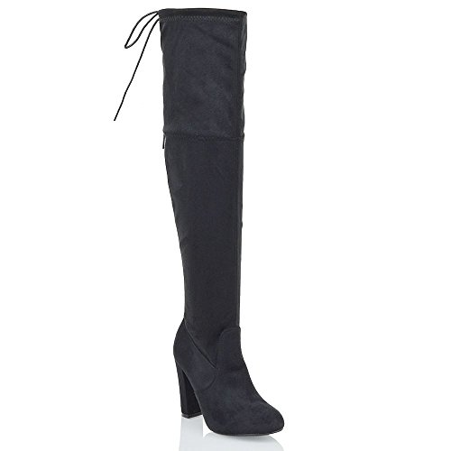 NEW WOMENS THIGH HIGH BOOTS LADIES OVER THE KNEE STRETCH EVENING BLOCK...