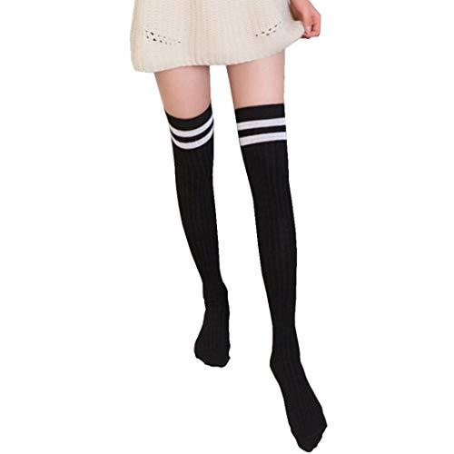 Jaysis Women Over The Knee Long Socks Striped Thigh High Stocking Socks Long Tube Socks
