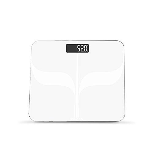 HDLWIS Intelligente elektronische Gewichtsskala, großes weißes LCD-Hintergrundlichtdisplay, Tempered Glass,400 lbs/180kgs Bluetooth-Skala