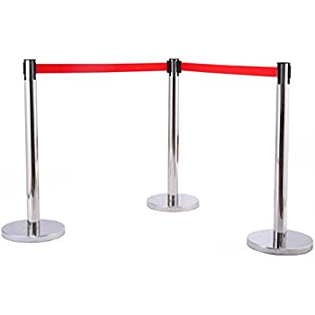 Gold Samger Samger Retractable Crowd Control Barriers Round Top Stanchion Post Queue 59 Velvet Rope Control Post