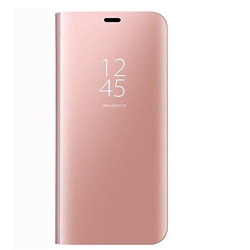 Qissy Carcasa Huawei P20 Pro Espejo Funda, Inteligente Espejo Enchapado Flip Funda Reflexión Brillante Ultra Fino Duro Anti-Scratch de para Huawei P20 Pro 6.1'' (Rose Oro)