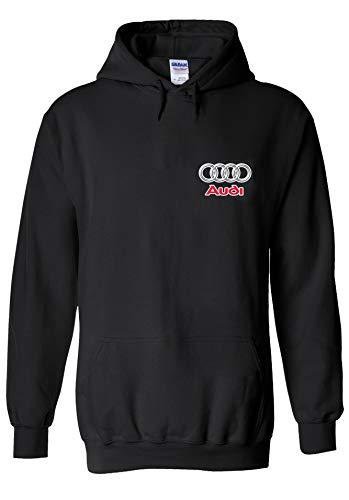 Audi Logo S R8 Line Pocket Print Novelty Black Men Women Unisex Hooded Sweatshirt Hoodie-M -