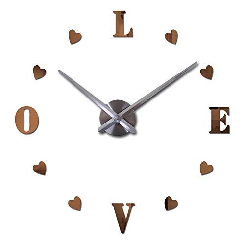 "Gysad Pegatinas pared Reloj de pared de bricolaje Pegatinas pared decorativas ""love"" Espejo Vinilos decorativos Diseño moderno 3D Decoracion hogar"