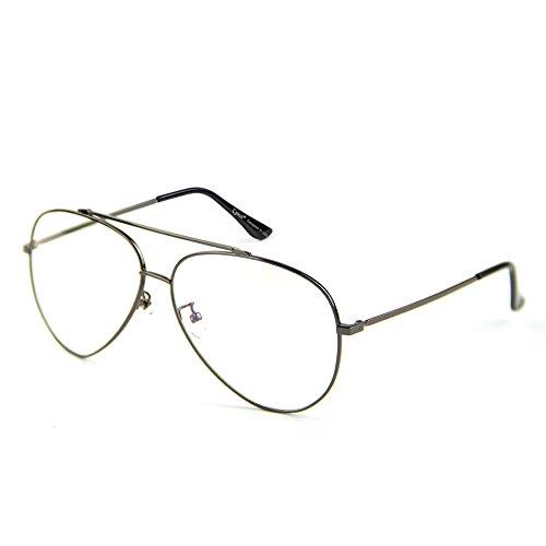 Cyxus pilotenbrille metallrahmen gläser blaue licht blockieren brille bildschirmbrille schützt die augen [transparente linse] besserer schlaf, Silber