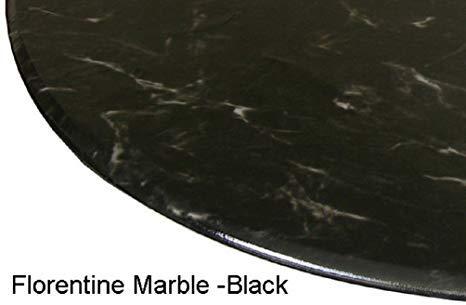 ke rund 91,4cm zu 121,9cm Elastic Edge Spannbettlaken Vinyl Tisch Cover Florentine Marmor Muster Schwarz ()
