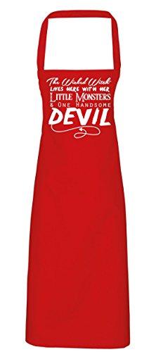 hippowarehouse The Wicked Witch Lives Here mit Ihre Little Monsters und One schön Teufel Schürze Küche Kochen Malerei DIY Einheitsgröße Erwachsene, rot, (Candy Skull Kostüm Red)