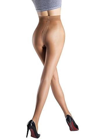 Collant classique ultra-mince haut de gamme 9Denier pour des Femmes (M, Café)