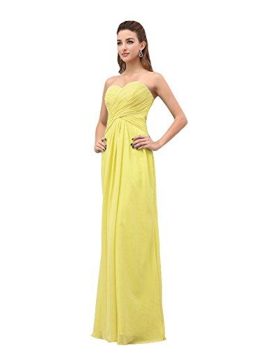 Dresstells, A-ligne robe de soirée robe de demoiselle d'honneur longueur ras du sol en mousseline de soie Jaune