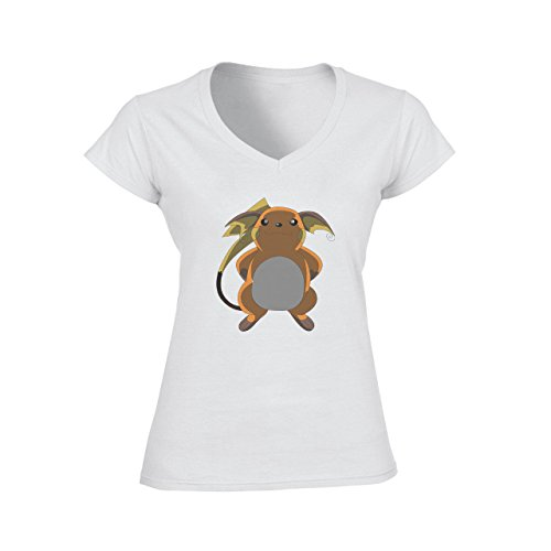 Pokemon Raichu Electric Pikachu Big Dark Damen V-Neck T-Shirt Weiß