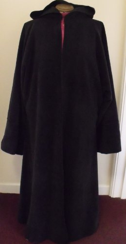 LARGE WARM BLACK FLEECE ROBE 4 JEDI/PAGAN/WICCAN/WIZARD/LARP/ROLEPLAY OR OUTDOOR PARTY!