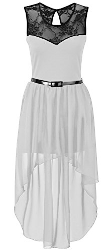 Neue Frauen Plus Size Ungleiche Chiffon Dip Rand-Spitze Belted Prom Kleid 36-54 Cream