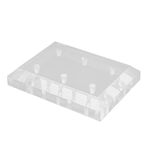 MagiDeal Schleifkopf Nail Drill Bit Halter Organizer Ständer Box Für Maniküre Pediküre Schleifköpfe Nagelpflege (Klar Acryl, 6 Löcher)