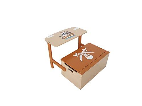 Baúl para juguetes 3en 1de Bebe Style con mesa + silla. marrón