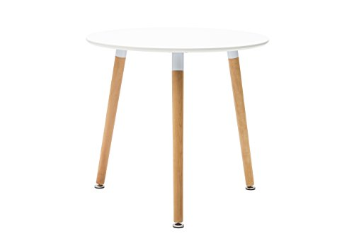 White loft, Table Ronde, Bois, Blanc, 80 x 80 x 74 cm