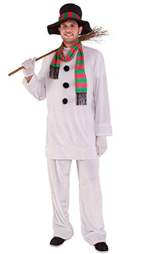 Karneval Klamotten Schneemann Kostüm Erwachsene Herren Herren-Kostüm mit Hut und Schal Weihnachten Karneval Winter Herrenkostüm 52/54