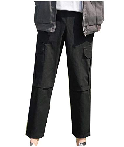 CuteRose Mens Multicam Solid-Colored Straight Multi Pockets Cargo Trousers Black XL
