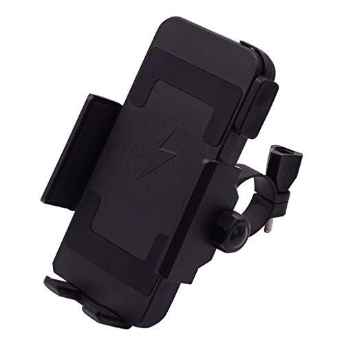 LCLrute Wireless Charging 360°Rotation Strength Alloy Motorcycle Handlebar Phone Holder Bike/Motorcycle Passive Holder Black Holder