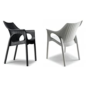 Idee Stühle bar 4, Sessel aus Polypropylen, Schale Geflochten und Beine aus Aluminium mit Abdeckung geflochten für Außen, Vier Stück