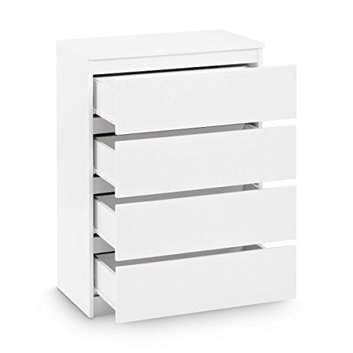 Galdem Kommode mit 4 Schubladen Sideboard Mehrzweckschrank Anrichte Diele Flur Esszimmer Wohnzimmer Weiß - 2