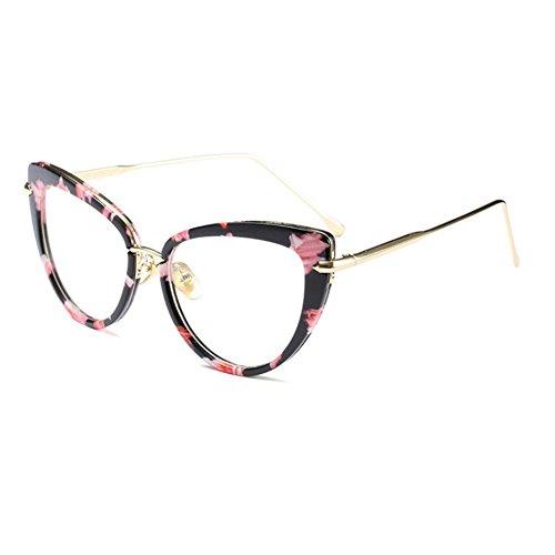 Fulision Donne Occhiali stile moderno Cat Eye Frame Occhiali retrò Lente trasparente 56mm