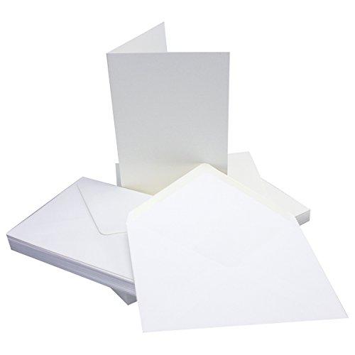 DIN B6 Faltkarten SET mit Umschlägen | Hochweiß / Kristallweiß | 25 Sets | 115 x 170 mm | ideal für Einladungskarten, Hochzeit, Taufe, Kommunion, Konfirmation | formstabil | für Drucker geeignet