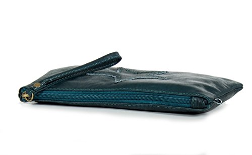 Petite pochette star italienne sac à bandoulière en cuir nappa souple - petit (23 x 14 x 2,5 cm) Bleu (Petrol)