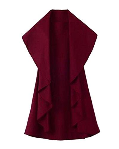 Donne Eleganti Gilet Veste Poncho Cape Giacca Senza Maniche Cardigan Cappotto Vino rosso