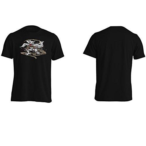 Uomo Demone Con Drago D'Arte D'Epoca Uomo T-shirt oo75m Black