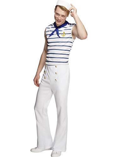 Fancy Ole - Herren Männer Männer Matrosen Seemann Kostüm, perfekt für Karneval, Fasching und Fastnacht, L, Weiß (Männer Matrose Kostüm)