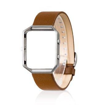 Band für Fitbit Blaze mit Metallrahmen, Ersatzband für Wearlizer Smart Watch mit Metallrahmen, EchtlederarmBand für Fitbit Blaze mit Metallrahmen - Groß Braun