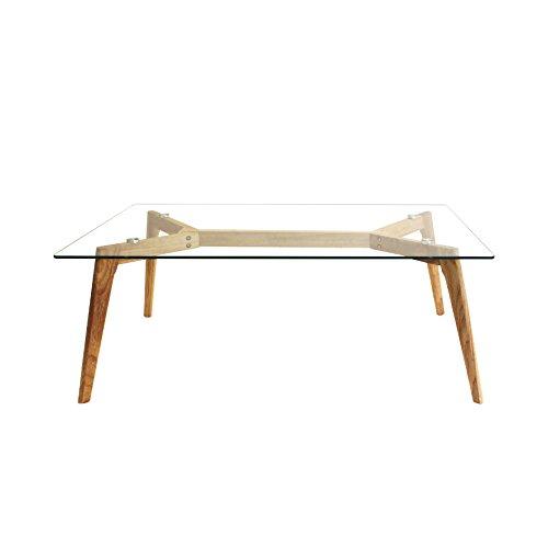 THE HOME DECO FACTORY hd3801Tavolo Rettangolare Legno + Vetro Transparent-Marron 110x 60x 45cm
