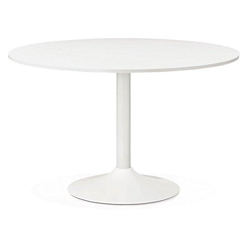 M.K.F. Table de Bureau ou Repas Design Ronde ASTA en Bois et métal Peint (Ø 120 cm) (Blanc)