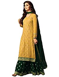 52d2623fde Women's Georgette Fabric Straight Embroidered Palazzo Suit (LFS016, Yellow,  5 XL)