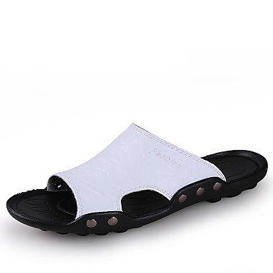 Slippers & amp da uomo;Comfort in pelle casual Blu Marrone Giallo Nero sandali bianchi sandali US10.5 / EU43 / UK9.5 / CN45