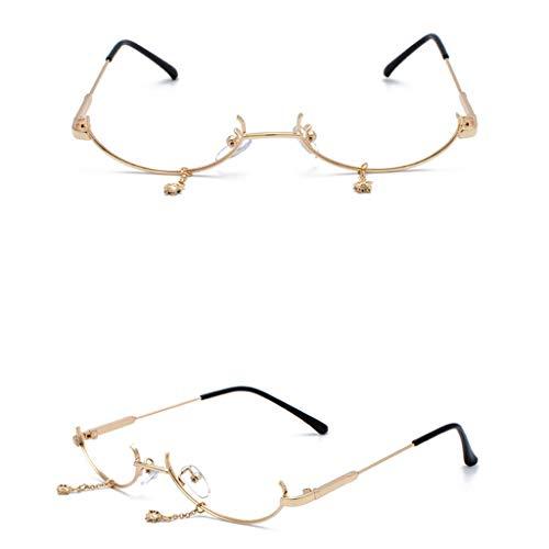 EUCoo Frauen Brillengestell Rahmen Mode Metallkette AnhäNger ZubehöR Flachen Spiegel Brillengestell(Gold)